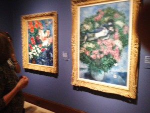 The works are arranged carefully to reflect the events of Chagall's life