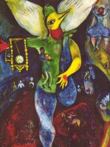 Chagall's trademark use of bright color and repeating lyrical motifs - angels, landmarks, and religious figures is all there to see