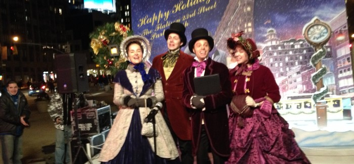 Carolers in Flatiron North Plaza by Madison Square Park Offer Holiday Cheer in Song