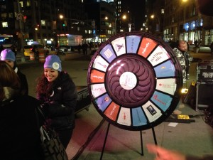 Flatiron 23rd Street Partnership offers a wheel of fortune ... try your chance for the holidays ...