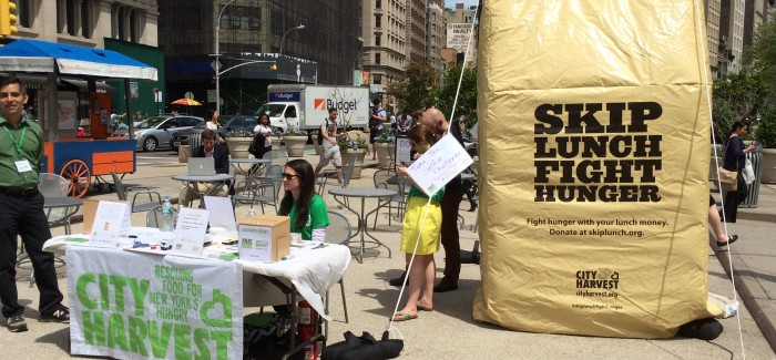 Selfie Challenge–Giant Lunch Bag in Flatiron Public Plaza North Reminds us to Fight Hunger