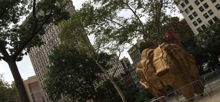 """Cragg's """"Walks of Life"""" Taking Shape in Madison Square Park"""