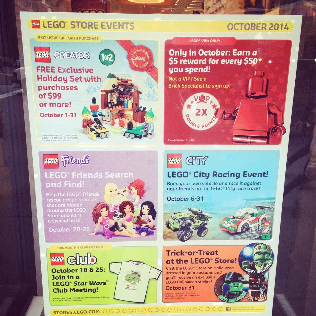 Lego Store Schedule of Events!
