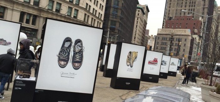 Out of the Closet: Special Old Converse Sneakers Turn Up in the Flatiron Public Plaza
