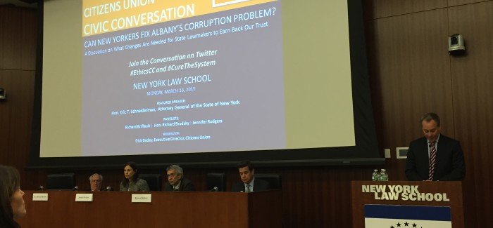 Citizens Union Hosts Forum on Albany Corruption at NY Law School; AG Schneiderman Lays Out Reform Agenda