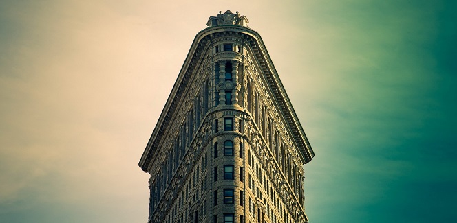 The top of Flatiron Building in NYC