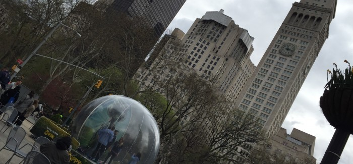 "Giant Snow Globe in Flatiron Plazas for New Showtime Comedy ""HAPPYish"""