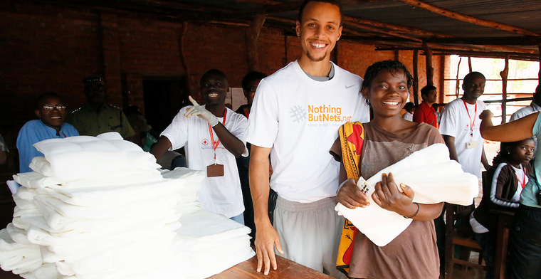 Basketball legend Steph Curry distributes bednets for Nothing But Nets