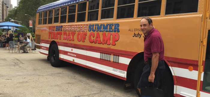 """Wet Hot American Summer"" Camp Bus Makes Stop in Flatiron Plazas!"