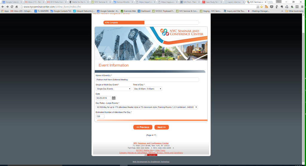 NYCSCC's Formsite Enhanced Reservation Request Form