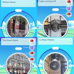 Some of the many PokéStops you'll come across in Flatiron