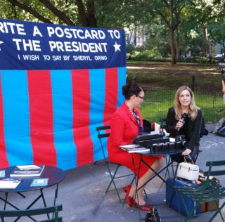 "Retro Analog Campaigning: Sheryl Orin ""I Wish to Say"" Campaign in Mad Square Park Today"