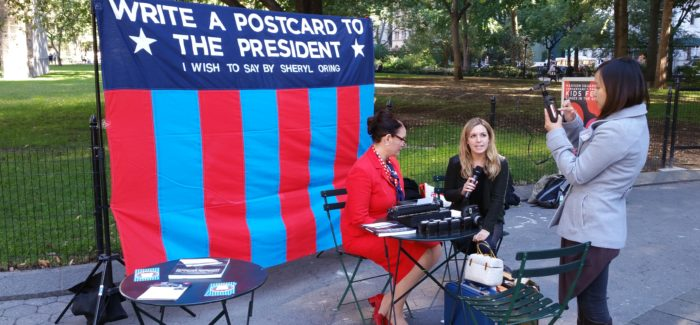 """Retro Analog Campaigning: Sheryl Orin """"I Wish to Say"""" Campaign in Mad Square Park Today"""